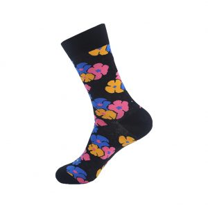 hippe sokken - flowers black - B28