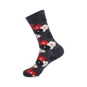 hippe sokken - flowers grey