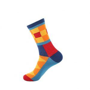 hippe sokken - squares orange - B60
